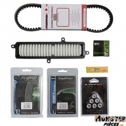 KIT ENTRETIEN MAXISCOOTER ADAPTABLE SUZUKI 125 BURGMAN 2007+  -P2R-  (BOUGIE NGK+FILTRE AIR HIFLOFILTRO+COURROIE BANDO+GALETS AR