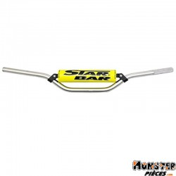 GUIDON MOTO STAR BAR CROSS MX-ENDURO ALU 2014 T6 DIAM 22,2mm L800mm H86mm ARGENT AVEC BARRE DE RENFORT-MOUSSE JAUNE
