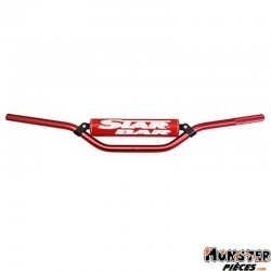 GUIDON MOTO STAR BAR CROSS MX-ENDURO ALU 2014 T6 DIAM 22,2mm L800mm H86mm ROUGE AVEC BARRE DE RENFORT